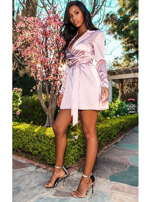 PrettyLittleThing pale satin plunge tie waist skater dress