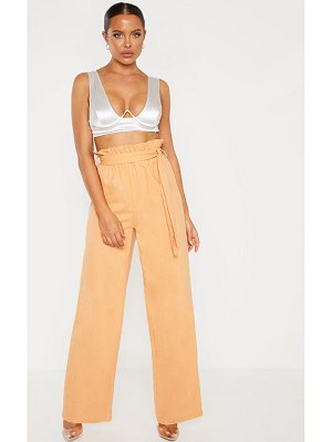 PrettyLittleThing paperbag waist flare linen mix pants