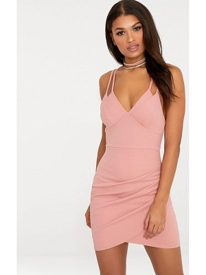 PrettyLittleThing pascala double strap wrap skirt bodycon dress