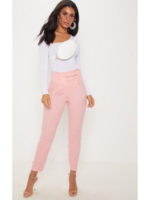 PrettyLittleThing pastel belted paperbag tapered pants