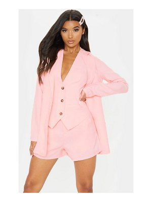 PrettyLittleThing pastel pink button detail oversized woven blazer
