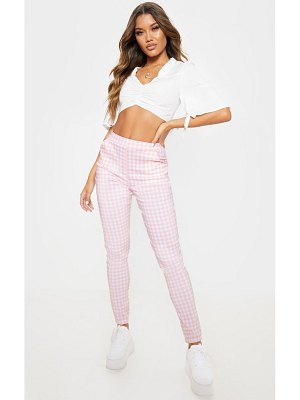 PrettyLittleThing pastel pink check high waisted skinny pants