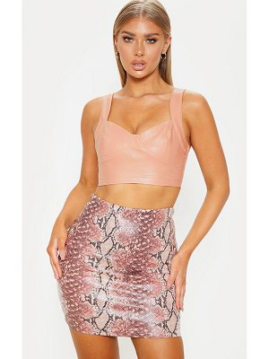 PrettyLittleThing pastel pink snake print faux leather bodycon mini skirt