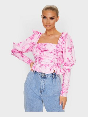 PrettyLittleThing pastel pink woven floral sheer ruched puff sleeve cropped blouse