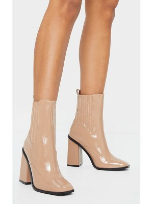PrettyLittleThing patent high block heel chelsea boots