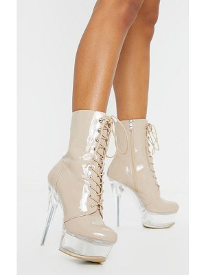 PrettyLittleThing patent lace up extreme platform heeled boot