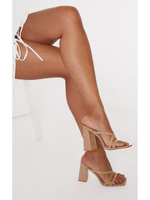 PrettyLittleThing patent pu snake flare high block heel strappy mules