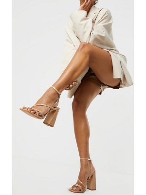 PrettyLittleThing patent pu square toe strappy high block heeled sandals