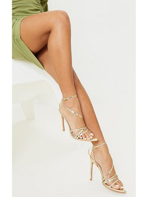 PrettyLittleThing patent snake pu point toe strappy stiletto heel sandals