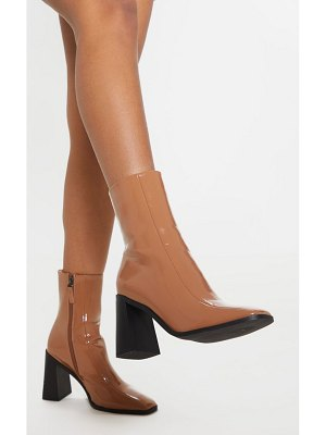 PrettyLittleThing patent square toe block heel ankle boot