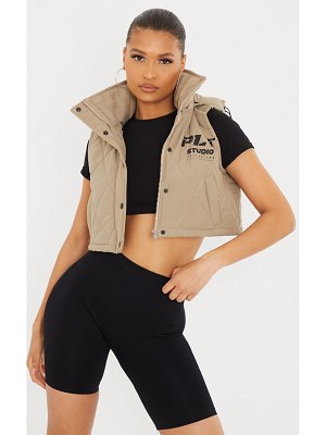 PrettyLittleThing peach skin diamond quilted removable hood gilet