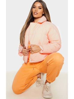 PrettyLittleThing peach skin oversized cropped puffer