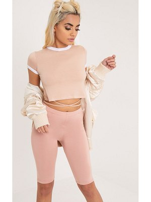 PrettyLittleThing phillipa jersey harness contrast crop t shirt