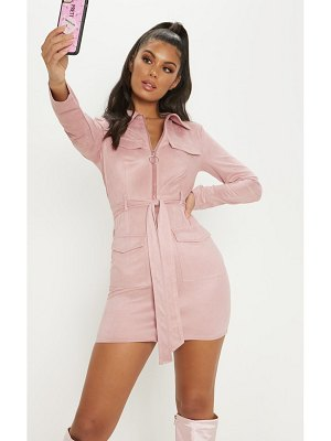 PrettyLittleThing pink faux suede pocket detail bodycon dress