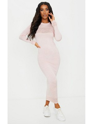 PrettyLittleThing pink sheer maxi knitted dress