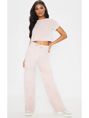 PrettyLittleThing pink velour high waisted wide leg pants