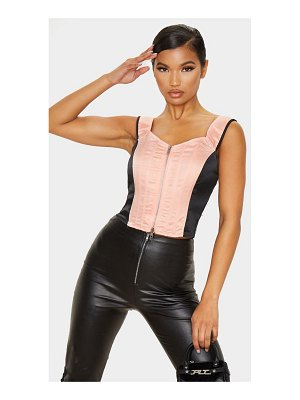 PrettyLittleThing pink woven double zip corset top