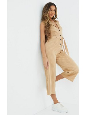 PrettyLittleThing pinstripe button detail sleeveless belted jumpsuit
