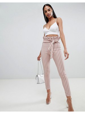 PrettyLittleThing pinstripe paperbag skinny pants