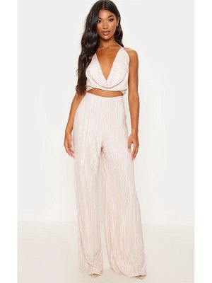 PrettyLittleThing pleated cowl neck cut out detail jumpsuit