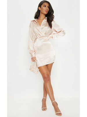 PrettyLittleThing pleated satin shirt style bodycon dress