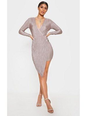 PrettyLittleThing plisse ring detail wrap bodycon dress