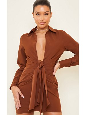 PrettyLittleThing plunge drape detail ruched shirt dress