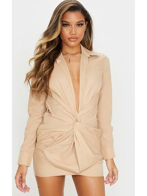 PrettyLittleThing plunge knot detail shirt dress