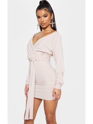 PrettyLittleThing plunge off shoulder tie front bodycon dress