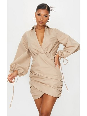 PrettyLittleThing plunge ruched tie cuff shirt bodycon dress