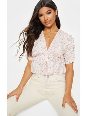 PrettyLittleThing plunge short sleeve ruched crop top