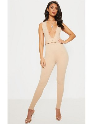 PrettyLittleThing plunge square belt detail jumpsuit