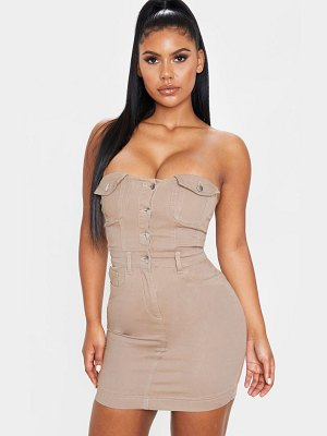 PrettyLittleThing pocket detail bandeau denim dress
