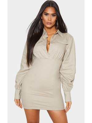 PrettyLittleThing pocket front long sleeve bodycon shirt dress