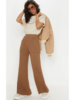 PrettyLittleThing pocket front wide leg knitted trousers