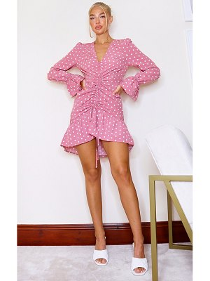 PrettyLittleThing polka dot print ruched front bodycon dress