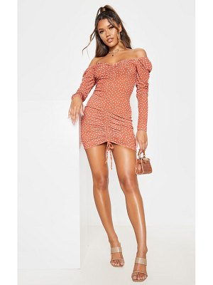 PrettyLittleThing polka dot ruched front long sleeve bodycon dress