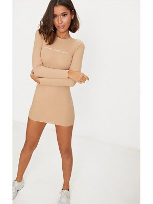 PrettyLittleThing embroidered ribbed bodycon dress
