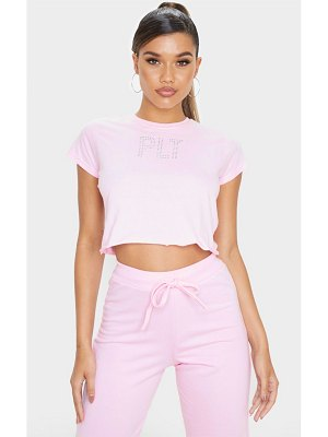 PrettyLittleThing baby pink diamante slogan crop t shirt