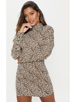PrettyLittleThing print high neck long sleeve ruched bodycon dress