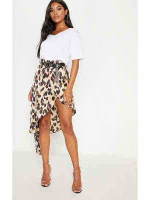 PrettyLittleThing print satin asymmetric skirt