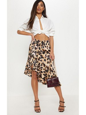 PrettyLittleThing print satin waterfall front midi skirt