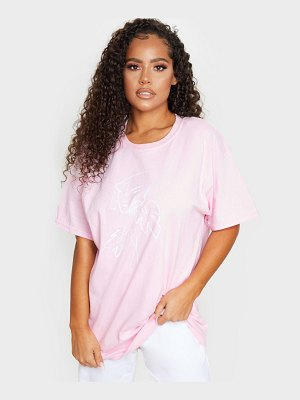PrettyLittleThing printed abstract face oversized t shirt