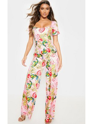 PrettyLittleThing printed cross back jumpsuit