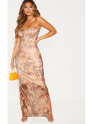 PrettyLittleThing printed mesh ruched maxi dress