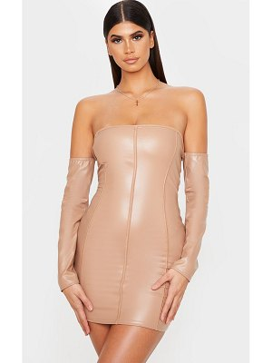 PrettyLittleThing pu bardot binding detail bodycon dress