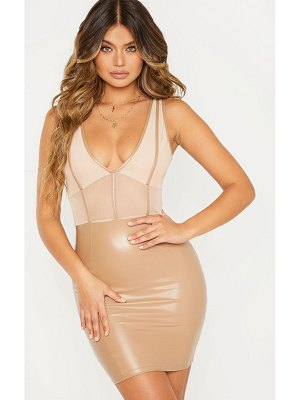 PrettyLittleThing pu binding mesh insert bodycon dress