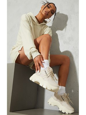 PrettyLittleThing pu contrast mesh cleated chunky sole sneakers