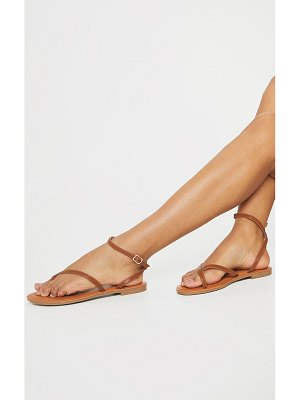 PrettyLittleThing pu cross over flat mule sandals