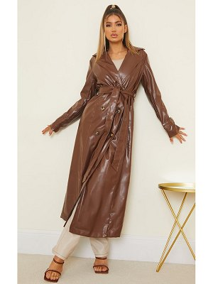 PrettyLittleThing pu double breasted maxi trench